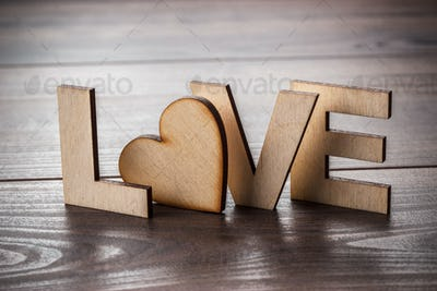 Word Love Made Up With Wooden Letters