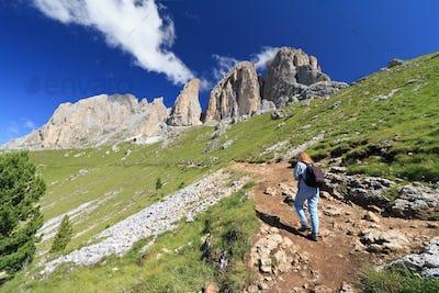 Dolomites - hiker on footpath