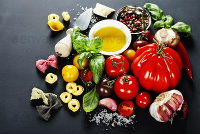 Italian ingredients - pasta, vegetables, spices, cheese