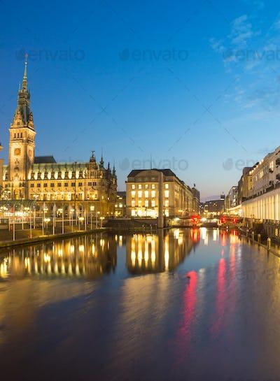 Townhall at night, Hamburg