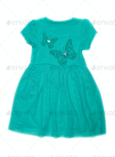 Children's fancy dress with butterfly pattern.