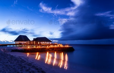 Romantic restaurant on the beach