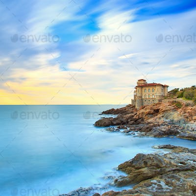 Boccale castle landmark on cliff rock and sea. Tuscany, Italy. L