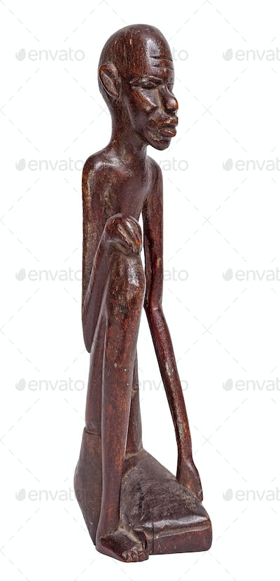 Skinny man statuette, isolated on white.