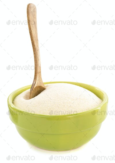 semolina in plate bowl on white