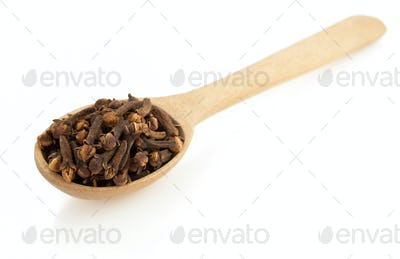 clove spices and spoon  on white