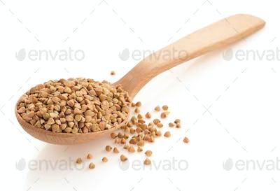 buckwheat groats in spoon