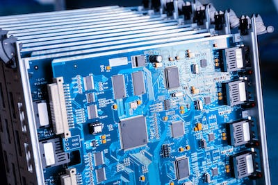 blue motherboard closeup