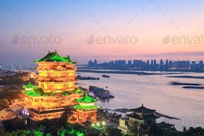 nanchang tengwang pavilion in sunset