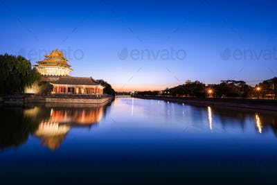 beijing moat in nightfall
