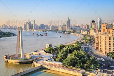 shanghai bund in sunrise