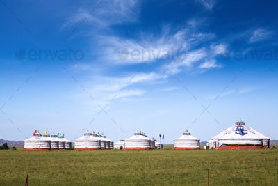 mongolian yurts on the prairie