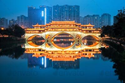 anshun bridge in nightfall