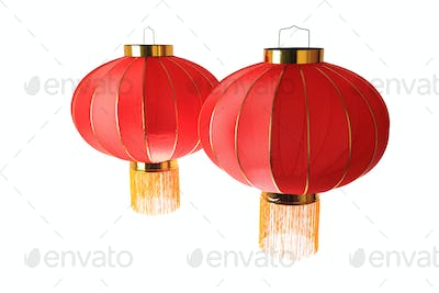 two red lantern isolated