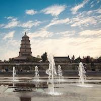 big wild goose pagoda with fountain