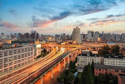 shanghai elevated road at dusk