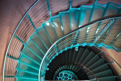 downward spiraling staircase