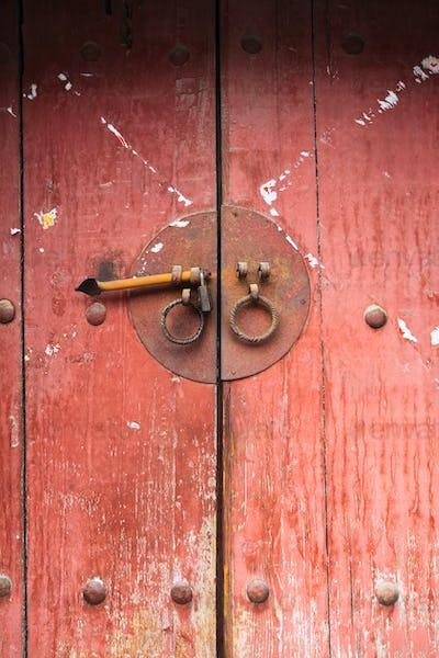 chinese old wooden door