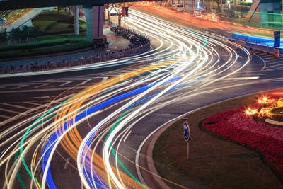 urban road car light trails