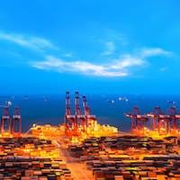 container terminal at nightfall