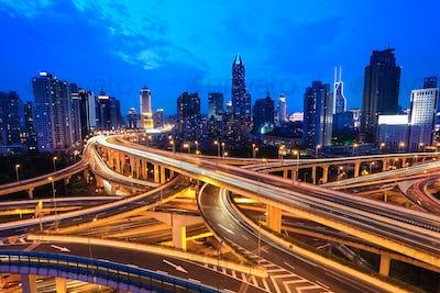 traffic through modern city