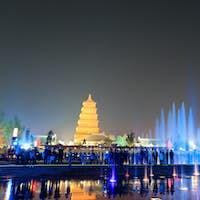beautiful fountains at night in Xi'an