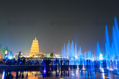 beautiful fountains at night in Xi'an