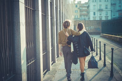young modern stylish couple urban