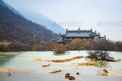 huanglong scenery with calcification pond