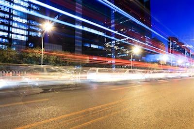 rush hour traffic in beijing at night