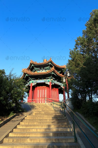 traditional red pavilion