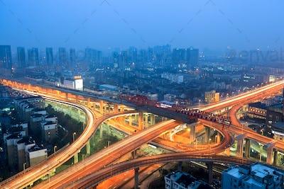 urban flyover at dusk