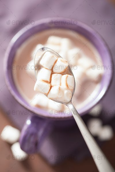 hot chocolate with mini marshmallows in spoon