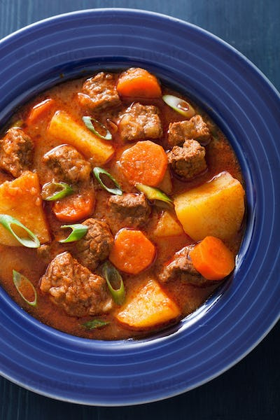 beef stew with potato and carrot in blue plate