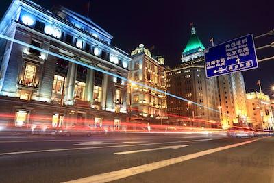 light trails on the street in shanghai bund