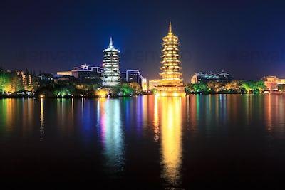 banyan lake pagodas at night