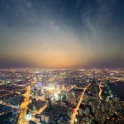 shanghai metropolis at night