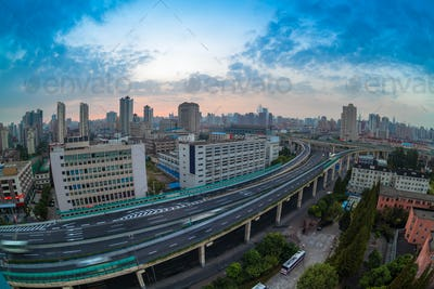 overpass at daybreak in shanghai