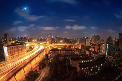elevated road at night