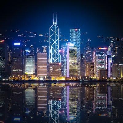 Hong Kong at night with reflections