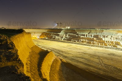 Pit Mine Wall At Night