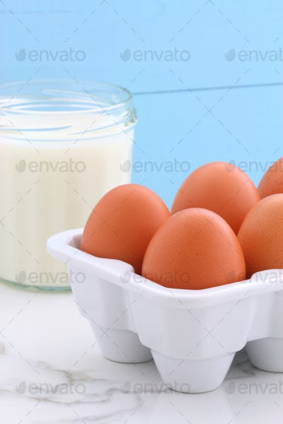 Heavy cream and whole eggs