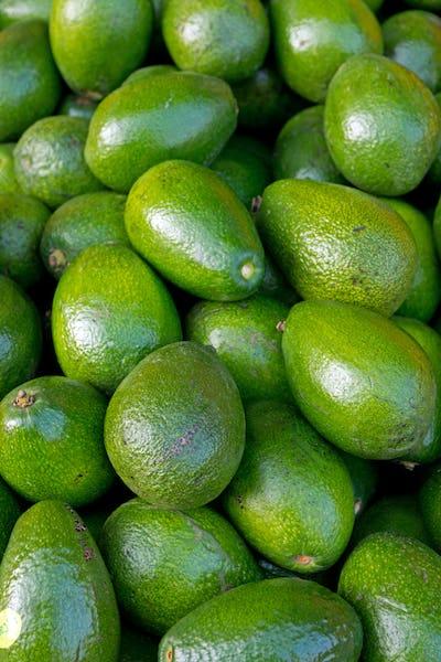 Avocados on a market