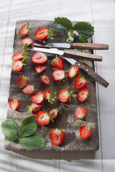 Small pieces of strawberries