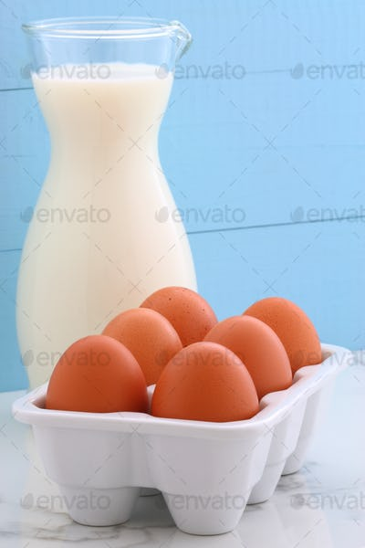 Fresh milk and eggs