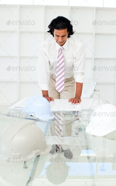 Portrait of a smiling architect studying plans