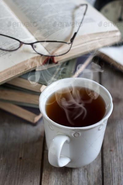 Books, tea and glasses