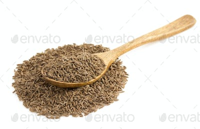 cumin seeds in spoon on white