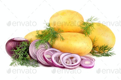Fresh potatoes with onion