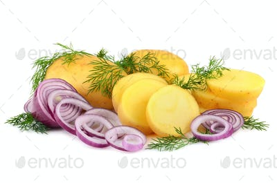 New potatoes with onion